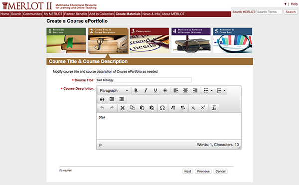 "screenshot of MERLOT showing the ""Create a course ePortfolio"" function"
